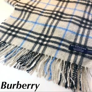 Burberry Cashmere Scarf Check Large Grey Blue